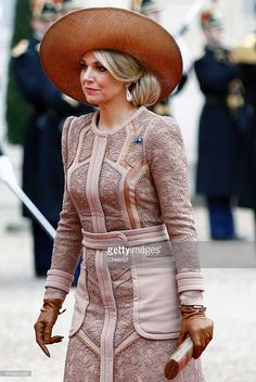 Queen Maxima of the Netherlands arrives to attend a meeting with French President Francois Hollande at the Elysee Presidential Palace on March 10, 2016 in Paris, France. Queen Maxima and King Willem-Alexander are on a two-day state visit in France. (Photo by Chesnot/Getty Images)