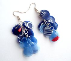 SALE Navy blue earrings made of plastic bottle recycled earrings eco friendly jewelry ombre earrings upcycled jewelry dark blue earrings Plastic Earrings, Plastic Jewelry, Plastic Beads, Blue Earrings, Plastic Bottle Crafts, Recycle Plastic Bottles, Diy Upcycling, Repurposing, Unusual Jewelry