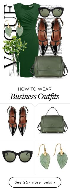 """""""Black and Olive"""" by dhieta17 on Polyvore featuring RED Valentino, DKNY, LSA International and Le Specs"""