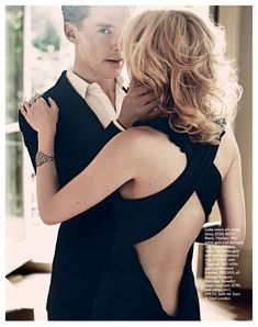 """Look at this photo and know that Benedict Cumberbatch is thinking """"I may be about to kiss the anonymous blonde model, but I'm really thinking of you."""""""
