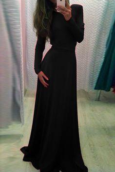 Sexy Long Sleeve V Back Maxi Dress