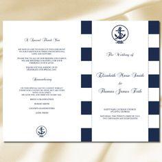 Wedding Program Template  Tea Length  Navy Nautical  Instant