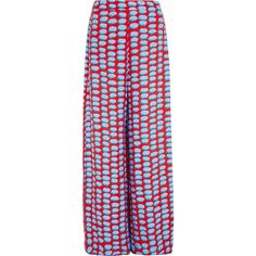 Stella McCartney Printed crepe de chine wide-leg pants ($280) ❤ liked on Polyvore featuring pants, red, red pants, wide-leg pants, high rise pants, high waisted pants and red trousers