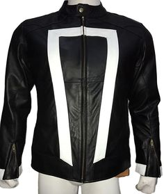 94ab2176617 Ghost Rider Nicolas Cage Robbie Reyes Men s Black Faux Leather Jacket at Amazon  Men s Clothing store