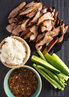 This Thai style grilled pork neck or grilled pork jowl is super DELICIOUS and easy to make. Pair it with sticky rice and nam jim jaew (Thai chili dipping sauce) and I guarantee that you'll be satisfied! Thai Recipes, Pork Recipes, Cooking Recipes, Pork Jowl Recipe, Authentic Thai Food, Paleo, Thai Dishes, Thai Style, Grilled Pork