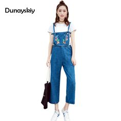 961f2238dd preppy chic denim jumpsuits woman casual loose full length jumpsuit print  embroidery student women s clothing jeans