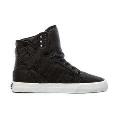 Supra Skytop High Top Sneaker Shoes (€83) ❤ liked on Polyvore featuring shoes, sneakers, chaussure, trainers, lacing sneakers, laced shoes, hi tops, supra shoes and lace up sneakers
