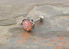 Pink Fire Opal Stud Cartilage Earring Tragus Helix Piercing 5mm on Wanelo $13