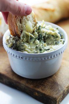 Slow Cooker Spinach Artichoke Dip - Creme De La Crumb -- no sour creme or mayo Best Appetizers, Appetizer Dips, Appetizer Recipes, Slow Cooker Recipes, Crockpot Recipes, Cooking Recipes, Tapas, Mozzarella Stuffed Meatballs, Spinach Artichoke Dip