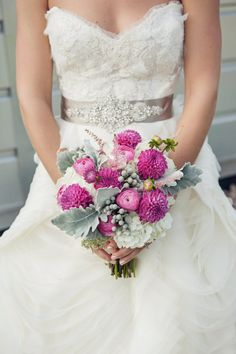 Love the combo of pinks! Connecticut Wedding at Saltwater Farm Vineyard from Crista Acosta | Style Me Pretty