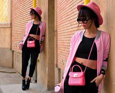 Furla Mini Candy bag River Island Hat Zara Pants Jacket  http://www.choies.com/product/pink-poker-print-bomber-jacket_p40010?cid=537suemao