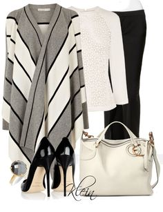 """""""Striped Cardigan"""" by stacy-klein on Polyvore"""