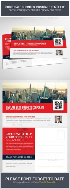 Corporate Business Postcards Psd  - Cards & Invites Print Templates