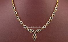 Simple and light weight latest Indian diamond necklace designs in affordable range. Made in 18 karat yellow gold with round cut brilliant diamonds, these trendy designs from lalitha Diamond Necklace Simple, Small Necklace, Gold Jewelry Simple, Gold Pearl Necklace, Diamond Jewelry, Indian Necklace, Ruby Necklace, Necklaces, Short Necklace