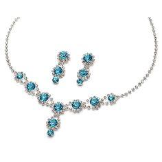 Blue Bridesmaids Jewelry   Blue Rhinestone Bridal Jewelry from USABride.