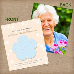 Flower shape plantable photo cards. Beautiful plantable photo cards with a flower on the front. Capture the spirit of your loved one by adding your favorite photo to these plantable cards. When you plant the flower shape, beautiful wildflowers grow in their memory. #funeralgifts, #funeralfavors, #photomemorialcards, #growcards, #plantableflowercards