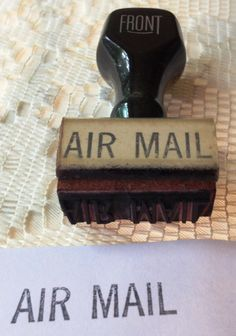 MAIL~Vintage Front Air Mail Rubber Stamp by wasminenowyours