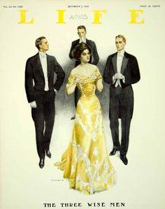 1908 Cover LIFE Coles Phillips Edwardian Lady Gentlemen Suitors evening Dress