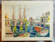 1952,  Fine Art,  Vintage Boat yard, Vintage Fine Art, Small Lithograph, Hand Painted Lithograph, Vintage Nautical Art by FunFloridaVintage on Etsy