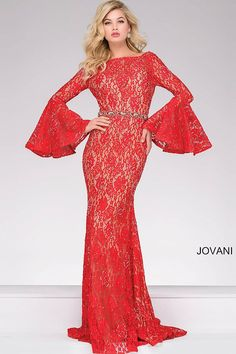 The bell sleeves on this red lace dress make this dress an absolute hit #JOVANI #35160