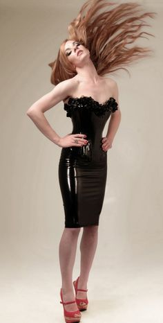 Classic Plunge Floral Latex Corset  made to measure by OohLaLatex, £375.00