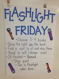 Is silent reading time a struggle in your classroom? Here are some unique and fun strategies to use in your classroom to improve your students' independent and silent reading time. Flashlight Friday makes silent reading fun and exciting for students. Classroom Fun, Kindergarten Classroom, Future Classroom, Camping Theme For Classroom, Classroom Reading Nook, Classroom Prizes, Kindergarten Anchor Charts, Classroom Libraries, Classroom Calendar