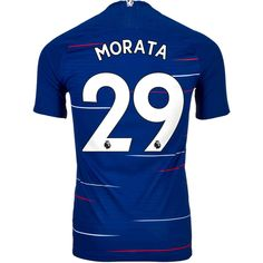 Nike Alvaro Morata Chelsea Home Match Jersey - SoccerPro Jersey Atletico Madrid, Chelsea Fc, Blues, Nike, Sports, How To Wear, Stuff To Buy, Men, Sport