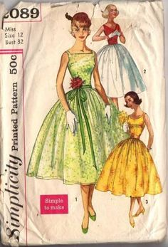 Simplicity 2089    1957: WOW! A Simple to Make 'Triple Treat' pattern. All views have full gathered skirt and sleeveless bodice with round back neckline. View 1 has square front neckline and contrast ribbon belt. View 2 has V front neckline, pleated cummerbund. Bodice & cummerbund are 1 fabric, skirt is contrast. View 3 has scoop front neckline and is shown with purchased belt. Great rockabilly cocktail party or vintage prom formal designs!