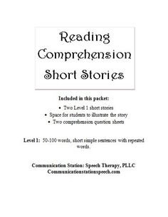 Communication Station: Speech Therapy: Freebie Friday-Reading comprehension short stories