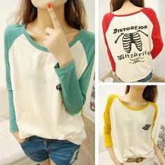 Discount China china wholesale Cotton Girls 2Colors Spliced Loose Round Neck Wing Pattern Long Sleeve T-Shirt Blouse Tops [31738] - US$12.49 : DealsChic