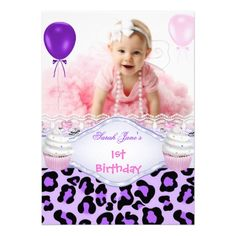 1st Birthday Girl Purple Cupcake Baby Leopard 2 Personalized Invitations