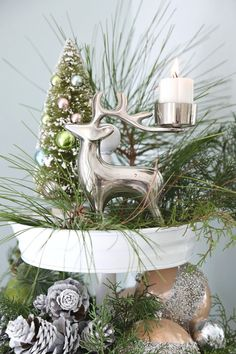 Christmas Decorated Tiered Cake Stand Painted White. Testors #ad Old Christmas, Coastal Christmas, Diy Christmas Ornaments, Christmas Projects, Christmas Ideas, Magical Christmas, Christmas Tablescapes, Outdoor Christmas Decorations, Halloween Decorations