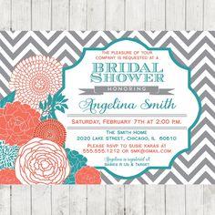 coral teal bridal shower invitation chevron diy printable
