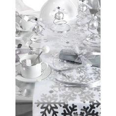 Chemin de table flocon de neige argent intissé blanc pour déco de table noël…