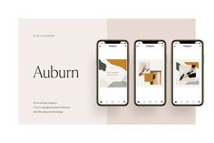 Ad: Auburn Social Media Pack by Studio Standard on The Auburn Social Media Pack is created in both Adobe Photoshop and Adobe Indesign. As always, everything is fully editable. Social Media Template, Social Media Design, Design Typography, Branding Design, Branding Ideas, Packaging Design, Boss Babe, Instagram Story, Instagram Feed