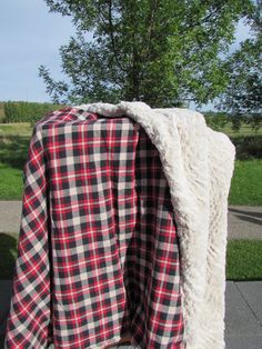 Rustic Plaid & Faux Fur Throw Blanket Red Black Tan - Cuddle Minky and Brushed Cotton - Great Christmas Gift by DesignbySandee on Etsy https://www.etsy.com/listing/465165782/rustic-plaid-faux-fur-throw-blanket-red