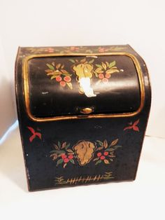 Toleware Roll Top Bread Box Circa 1930s