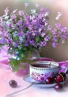 26 Ideas For Quotes Nature Beauty Night Good Morning Coffee Gif, Coffee Time, Tea Time, Purple Flowers, Beautiful Flowers, Beauty Night, Afternoon Tea Parties, All Things Purple, Coffee Humor