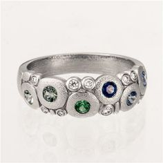 Alex Sepkus-Candy Dome Ring - Blue & Green Fade Gems in Polished Platinum-R-122PS-BL-GR-FADE