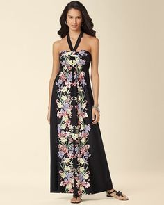 Soma Intimates Mirrored Floral Faye Maxi Dress Britney Maxi Dress Empress  Scroll Black  somaintimates Pretty 6a779eb95