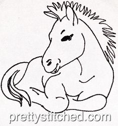 Horse Outline – Pretty Stitched Horse Outline, Line Design, Machine Embroidery, Embroidery Designs, Horses, Stitch, Pretty, Animals, Fictional Characters
