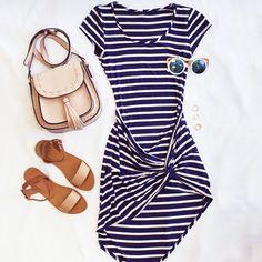 Corrin Striped Dress - Navy