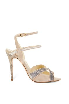 Shop Orchard Mile Nude Snakeskin and Suede Sandal