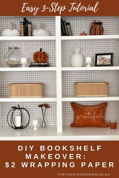 Looking for a quick & easy project that won't break the bank? Try DIY Bookcase Makeover: $2 Wrapping Paper by thetarnishedjewelblog.com. Super Easy 3-Step Tutorial! #bookshelfdecor #falldecor2020 #wallpaperideas #accentwallpaper #accentwall #falldecorating #falldecoratingideas #blackandwhitedecor #modernfarmhousedecor #grateful #gratefulthankfulblessed #wallpaperwednesday Living Room Decor Furniture, Furniture Layout, Bookshelf Makeover, Accent Wallpaper, Decorating Bookshelves, Built In Bookcase, Built In Cabinets, Modern Farmhouse Decor, Easy Projects