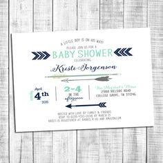 Unique baby boy shower invitation with arrow and tribal theme. Matching designs can be created and purchased separately (including: wishes for baby,