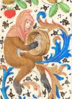 Monkey musician detail, from Trivulzio Book of Hours, 15th c. Koninklijke Bibliotheek