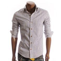 Mens Casual Check Plaid Dress Shirt