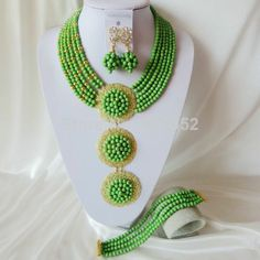 Fashion Green Turquoise Nigerian Beads Necklaces Bracelet Earrings African Wedding Beads Jewelry Set TJS-003 $58.20