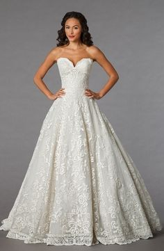 Danielle Caprese Sweetheart Princess/Ball Gown Wedding Dress  with Natural Waist in Lace. Bridal Gown Style Number:32851685