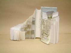 Inspiration came from the numerous pathways found at Longshaw, a National Trust property near Sheffield, South Yorkshire. Acres of walking across moorland, through ancient woodland and meadows. The book form displays in an acrylic box 25 cms square. joowen.weebly.com